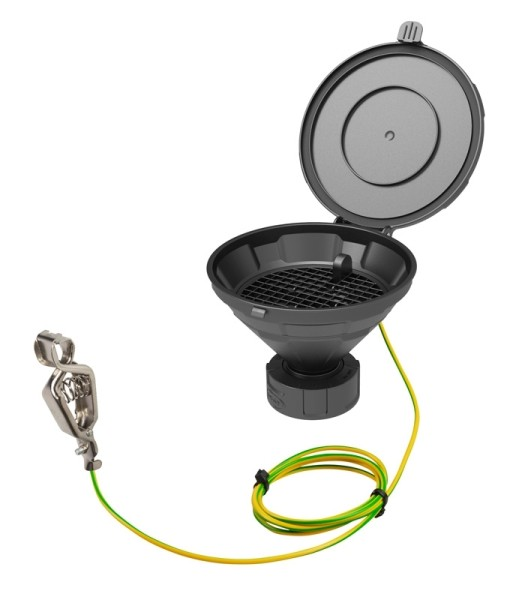 """Deckeltrichter """"MARCO"""", V2.0, S60/61, PE-HD elektrisch ableitfähig, mit herausnehmbarem Sieb"""